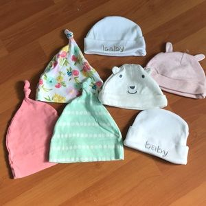 baby hats cloud island.  All purchased at target